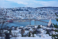 Tromsø Bridge (Tromsøbrua) and Arctic Cathedral in Winter. Image taken with a Nikon 1 V2 camera and 30-110 mm VR lens (ISO 200, 47.5 mm, f/6.3, 1/80 sec)..