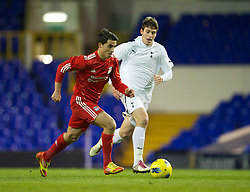 LONDON, ENGLAND - Wednesday, February 1, 2012: Liverpool's 'Suso' Jesus Fernandez Saez in action against Tottenham Hotspur during the NextGen Series Quarter-Final match at White Hart Lane. (Pic by David Rawcliffe/Propaganda)