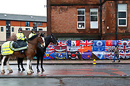 Mounted police outside Ibrox talking to the fans ahead of the Ladbrokes Scottish Premiership match between Rangers and Kilmarnock at Ibrox, Glasgow, Scotland on 16 March 2019.