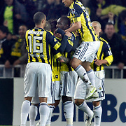 Fenerbahce's Mamadou NIANG (C) celebrate his goal with team mate during their Turkish superleague soccer match Fenerbahce between Konyaspor at the Sukru Saracaoglu stadium in Istanbul Turkey on Sunday 13 March 2011. Photo by TURKPIX