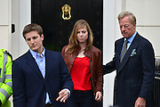 © Licensed to London News Pictures. 15/04/2013. London, UK , Michael Thatcher, Sarah Thatcher and Sir Mark Thatcher leave Baroness Thatcher's former home in London. Photo credit : Stephen Simpson/LNP