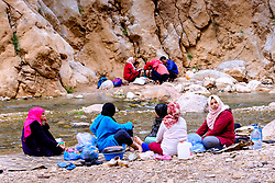 Sunday picnic by the River Todra in the Todra Gorge, Morocco<br /> <br /> (c) Andrew Wilson   Edinburgh Elite media