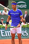Rafael Nadal (ESP) waits patiently for his opponent during the preliminary rounds of the Roland Garros Tennis Open 2017 at Roland Garros Stadium, Paris, France on 2 June 2017. Photo by Jon Bromley.