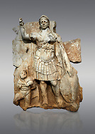 Roman Sebasteion relief  sculpture of Roma armed, Aphrodisias Museum, Aphrodisias, Turkey. <br /> <br /> Roma is equipped with a spear, helmet, round shield and imperial style armour. Blow crouches a naked bearded prisoner, with hands tied behind his back and a skin knotted around his neck. He turns to look up at Roma .<br /> <br /> If you prefer to buy from our ALAMY STOCK LIBRARY page at https://www.alamy.com/portfolio/paul-williams-funkystock/greco-roman-sculptures.html . Type -    Aphrodisias     - into LOWER SEARCH WITHIN GALLERY box - Refine search by adding a subject, place, background colour, museum etc.<br /> <br /> Visit our ROMAN WORLD PHOTO COLLECTIONS for more photos to download or buy as wall art prints https://funkystock.photoshelter.com/gallery-collection/The-Romans-Art-Artefacts-Antiquities-Historic-Sites-Pictures-Images/C0000r2uLJJo9_s0