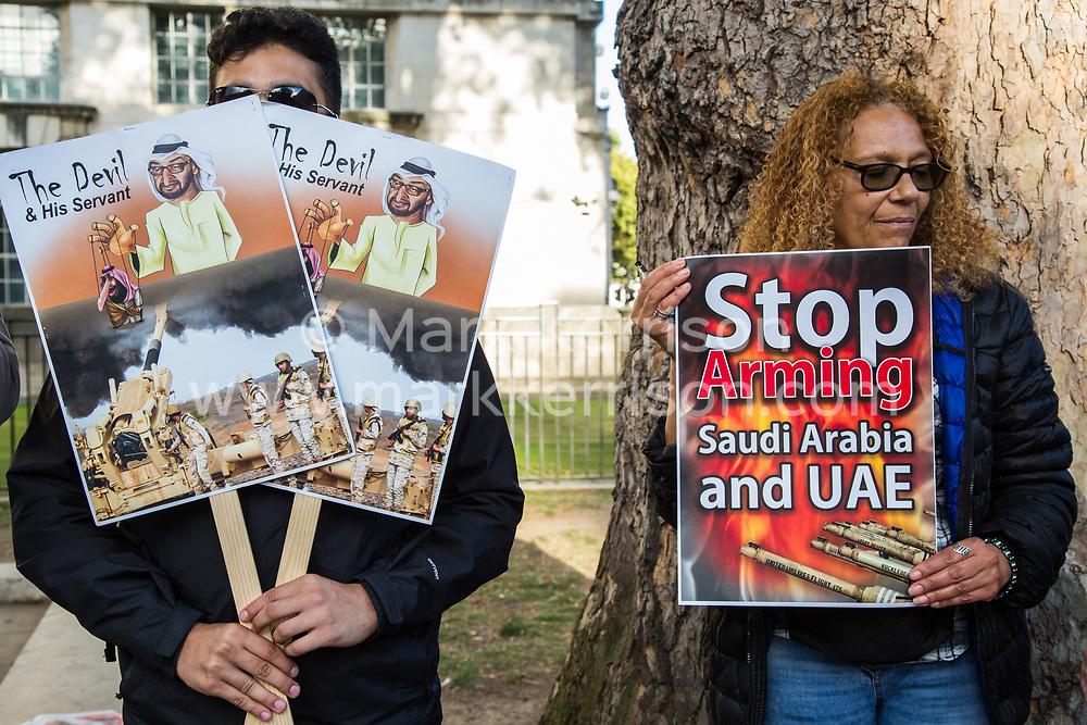 """London, UK. 11 September, 2019. Activists from the International Campaign Against Injustice protest opposite Downing Street to call on the UK Government to cease selling arms to Saudi Arabia, the United Arab Emirates and other members of the Saudi-led coalition responsible for the attacks on Yemen which have led to what the UN has described s """"the world's worst humanitarian crisis"""". The protest coincided with the DSEI arms fair in London, attended by a delegation from Saudi Arabia."""