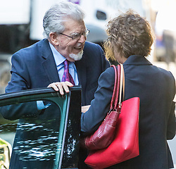 London, May 24th 2017. Convicted paedophile Rolf Harris leaves Southwark Crown court after appearing in person at his trial on further sexual offences charges where it is alleged he groped a 13-year old girl in 1983. It is the first time he has appeared in person at the trial having perviously been attending via video link, following his release from prison where he has been serving time for previous convictions on sex charges. PICTURED: Harris is greeted outside the court by hie niece Jenny Harris.
