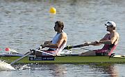 Hazenwinkel, BELGIUM,  Men's Pair, [ M2-],  Bow: Hugo LEE and Josh WEST, in the last stroke of the morning time trial, at the GB Rowing Senior Trials, on Sun,15.04.2007  [Credit, Peter Spurrier/Intersport-images]   [Mandatory Credit, Peter Spurier/ Intersport Images]. , Rowing Course, Bloso, Hazewinkel. BELGUIM