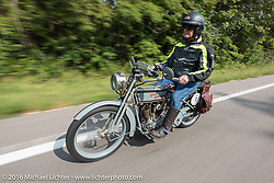Steve Decosa of New York riding his 1915 Harley-Davidson during the Motorcycle Cannonball Race of the Century. Stage-6 from Cape Girardeau, MO to Springfield, MO. USA. Thursday September 15, 2016. Photography ©2016 Michael Lichter.