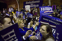U.S. Sen. Hillary Clinton (D-N.Y.) signs autographs at the conclusion of her speech in Casper, Wyo., ahead of the 2008 Wyoming Caucuses.