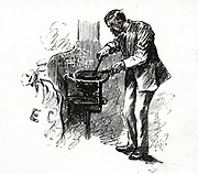'Heating the wax with which mail bags were sealed before dispatch. The General Post Office, St Martin's le Grand, London.  Engraving, London, 1884,'