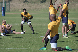 JOHANNESBURG, SOUTH AFRICA MAY 28: Pictured left, Pieter-Steph du Toit and Siya Kolisi during training on 28 May 2018 in Johannesburg South Africa. Both Pieter-Steph du Toit and Siya Kolisi were announced by Springboks coach Rassie Erasmus as captains ahead of upcoming international games against Wales and England, the Springbok captaincy is a first for both players. They attended a training session with the Springbok rugby squad and coaching staff at St Stithians School. (Photo by Dino Lloyd)