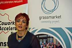 Pictured: Angela Constance<br /> <br /> Communities Secretary Angela Constance MSP visited the Grassmarket Community Project today to see how a successful social enterprise works. While she was there, Ms Constance launched the Scottish Government's social enterprise strategy.<br /> <br /> Ger Harley   EEm 14 December 2016