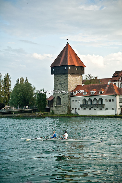 Sculling the Bodensee in beautiful picturesque Konstanz, Germany captured while traveling through Europe.