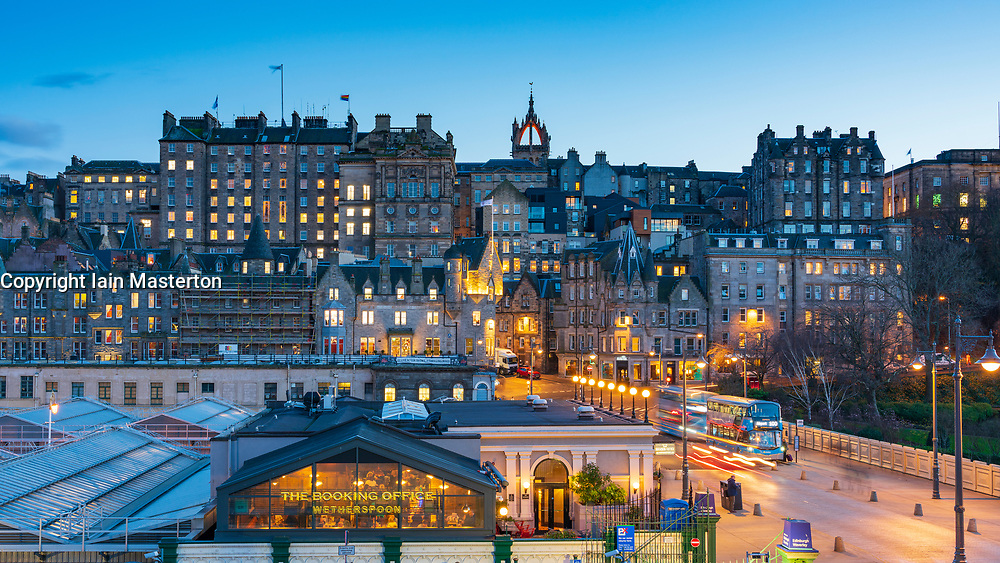 Evening view of  historic buildings in Edinburgh Old Town , Scotland, UK