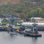 A vanguard-class, nuclear missile-armed submarine in HM Naval Base Clyde, Fastlane, Argyll & Bute, Scotland.