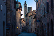 Inside the old Italian town early at morning