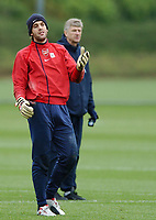 Photo: Javier Garcia/Back Page Images Mobile +447887 794393<br />Arsenal FC UEFA Champions League Training, London Colney, 06/12/04<br />Manuel Almunia berates himself after he made a hash of a routine save in front of Arsene Wenger