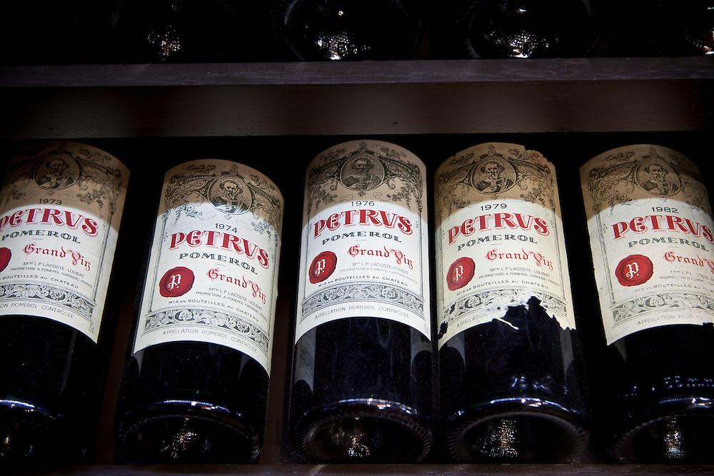 Chateau Petrus fine wine vintage 1973, 1974, 1976, 1979, 1982 on sale in St Emilion, Bordeaux, France