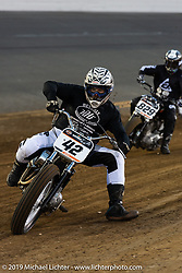 Rich Heverly (number 42) in the front line Hooligan Racing during the American Flat Track TT at Daytona International Speedway - Daytona Bike Week. Daytona Beach, FL. USA. Thursday March 15, 2018. Photography ©2018 Michael Lichter.