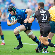 DUBLIN, IRELAND:  October 9:   Ryan Baird #4 of Leinster defended by Guglielmo Palazzani #21 of Zebre during the Leinster V Zebre, United Rugby Championship match at RDS Arena on October 9th, 2021 in Dublin, Ireland. (Photo by Tim Clayton/Corbis via Getty Images)