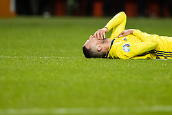 March 23, 2019 - Stockholm, SWEDEN - 190323 Marcus Berg of Sweden in pain during the UEFA Euro Qualifier football match between Sweden and Romania on March 23, 2019 in Stockholm. (Credit Image: © Andreas L Eriksson/Bildbyran via ZUMA Press)