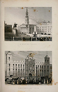 St. Martin's Church, Trafalgar Square [Top] and Northumberland House [bottom] London From the book Illustrated London, or a series of views in the British metropolis and its vicinity, engraved by Albert Henry Payne, from original drawings. The historical, topographical and miscellanious notices by Bicknell, W. I; Payne, A. H. (Albert Henry), 1812-1902 Published in London in 1846 by E.T. Brain & Co
