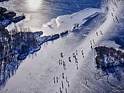 Nederland, Noord-Holland, Ronde Venen, 13-02-2021; schaatsers op de Groote Wije, onderdeel van het Natuurreservaat Botshol (tussen Vinkenveen en Ouderkerk).<br /> Ice skaters on frozen lake - natural reserve - during skating tour,<br /> <br /> luchtfoto (toeslag op standaard tarieven);<br /> aerial photo (additional fee required)<br /> copyright © 2021 foto/photo Siebe Swart