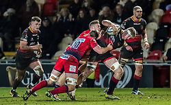 Dragons' Aaron Wainwright drives through the tackle.<br /> <br /> Photographer Simon Latham/Replay Images<br /> <br /> Anglo-Welsh Cup Round Round 4 - Dragons v Worcester Warriors - Friday 2nd February 2018 - Rodney Parade - Newport<br /> <br /> World Copyright © Replay Images . All rights reserved. info@replayimages.co.uk - http://replayimages.co.uk
