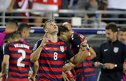 July 26, 2017 - Santa Clara, CA, USA - Santa Clara, CA - Wednesday July 26, 2017: Jordan Morris celebrates his goal during the 2017 Gold Cup Final Championship match between the men's national teams of the United States (USA) and Jamaica (JAM) at Levi's Stadium. (Credit Image: © Bob Drebin/ISIPhotos via ZUMA Wire)