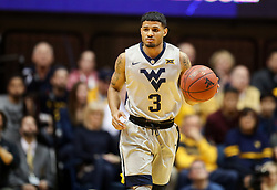Jan 15, 2018; Morgantown, WV, USA; West Virginia Mountaineers guard James Bolden (3) dribbles the ball up the floor during the second half against the Kansas Jayhawks at WVU Coliseum. Mandatory Credit: Ben Queen-USA TODAY Sports