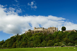 View of historic Stirling Castle perched on top of hill in Scotland