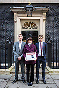 The family of WWII codebreaker Alan Turing deliver Change.org petition to 10 Downing Street, signed by almost half a million people <br /> calling for a pardon for more than 49,000 British gay men convicted under historic anti-gay laws in the UK. Turing's relatives Nevil Hunt (great nephew), Rachel Barnes (great niece), Thomas Barnes (great great nephew) delivered the petition to No.10 Downing Street. 23rd February 2015.