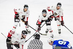 Kirchschlager Erik with Schneider Peter, Ganahl Manuel of Austria during match at Beat Covid 19 IIH Tournament 2021 between national teams of Slovenia and Austria in Hala Tivoli on 15th of May, 2021, Ljubljana, Slovenia . Photo By Grega Valancic / Sportida