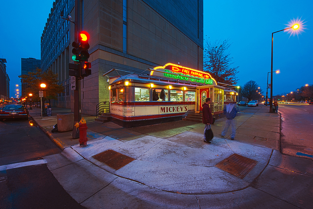 Famed Mickey's Diner in downtown St. Paul, Minnesota sits amongst skyscrapers