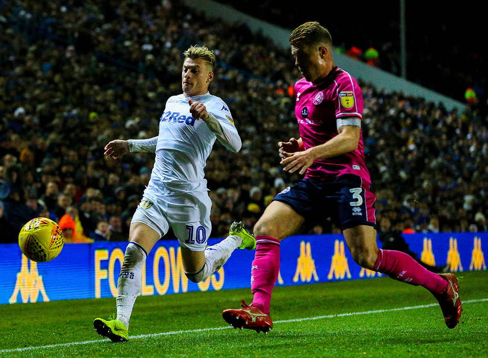 Leeds United's EzgjanAlioski vies for possession with Queens Park Rangers' Jake Bidwell<br /> <br /> Photographer Alex Dodd/CameraSport<br /> <br /> The EFL Sky Bet Championship - Leeds United v Queens Park Rangers - Saturday 8th December 2018 - Elland Road - Leeds<br /> <br /> World Copyright © 2018 CameraSport. All rights reserved. 43 Linden Ave. Countesthorpe. Leicester. England. LE8 5PG - Tel: +44 (0) 116 277 4147 - admin@camerasport.com - www.camerasport.com