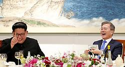 27일 오후 문재인 대통령과 김정은 국무위원장이 평화의 집에서 열린 남북정상회담 만찬에서 마술공연을 관람 하고 있다.