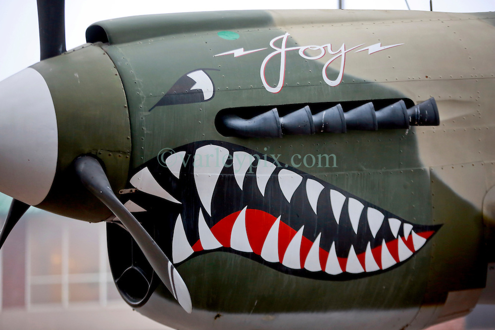 23 March 2014. Baton Rouge, Louisiana.<br /> The insignia on a WW2 P-40 fighter plane at the  USS Kidd Veterans Memorial Museum.<br /> Photo; Charlie Varley/varleypix.com