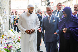 The Prince of Wales visits tributes left at the scene of the Finsbury Mosque attack alongside Imam Mohammed Mahmoud during a visit to Muslim Welfare House in north London, to meet members of the local community and hear about the community response following the recent terrorist attack.