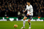 Son Heung-min of Tottenham Hotspur in action. Premier league match, Tottenham Hotspur v Manchester Utd at Wembley Stadium in London on Wednesday 31st January 2018.<br /> pic by Steffan Bowen, Andrew Orchard sports photography.