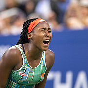2019 US Open Tennis Tournament- Day Two. Coco Gauff of the United States celebrates her victory against Anastasia Potapova of Russia in the Women's Singles Round One match on Louis Armstrong Stadium at the 2019 US Open Tennis Tournament at the USTA Billie Jean King National Tennis Center on August 27th, 2019 in Flushing, Queens, New York City.  (Photo by Tim Clayton/Corbis via Getty Images)