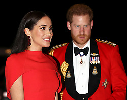 Prince Harry, Duke of Sussex, and Meghan Markle, Duchess of Sussex, attend the Mountbatten Festival of Music at the Royal Albert Hall, London, UK, on the 7th March 2020. Picture by Simon Dawson/WPA-Pool. 07 Mar 2020 Pictured: Meghan Markle, Duchess of Sussex, Prince Harry, Duke of Sussex. Photo credit: MEGA TheMegaAgency.com +1 888 505 6342
