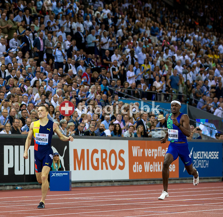Karsten WARHOLM (L) of Norway on his way winning in the Men's 400m Hurdles during the Iaaf Diamond League meeting (Weltklasse Zuerich) at the Letzigrund Stadium in Zurich, Switzerland, Thursday, Aug. 29, 2019. (Photo by Patrick B. Kraemer / MAGICPBK)