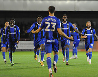 Football - 2021 / 2022 EFL Carabao Cup - Round One - Crawley Town vs Gillingham - The People's Pension Stadium - Tuesday, 10th August 2021<br /> <br /> Harvey Lintott of Gillingham celebrates scoring the winning goal in the penalty shoot out with his team mates<br /> <br /> Credit : COLORSPORT/Andrew Cowie
