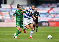 Football - 2019 / 2020 Sky Bet (EFL) Championship - Queens Park Rangers vs. Sheffield Wednesday<br /> <br /> Queens Park Rangers' Geoff Cameron holds off the challenge from Sheffield Wednesday's Josh Windass, at Kiyan Prince Foundation Stadium (Loftus Road).<br /> <br /> COLORSPORT/ASHLEY WESTERN