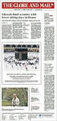 October 18, 2021 - CANADA: Front-page: Today's Newspapers In Canada