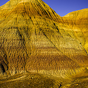 USA, West, Southwest, AZ, Arizona, Petrified Forest, Layers and striations of spectacular Blue Mesa in Petrified Forest National Park, AZ.