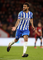 """Brighton and Hove Albion Connor Goldson in action during the Carabao Cup, third round match at the Vitality Stadium, Bournemouth. PRESS ASSOCIATION Photo. Picture date: Tuesday September 19, 2017. See PA story SOCCER Bournemouth. Photo credit should read: Steven Paston/PA Wire. RESTRICTIONS: EDITORIAL USE ONLY No use with unauthorised audio, video, data, fixture lists, club/league logos or """"live"""" services. Online in-match use limited to 75 images, no video emulation. No use in betting, games or single club/league/player publications."""