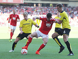 Oliver Burke of Nottingham Forest (C) and Ben Turner of Burton Albion (R) in action - Mandatory by-line: Jack Phillips/JMP - 06/08/2016 - FOOTBALL - The City Ground - Nottingham, England - Nottingham Forest v Burton Albion - EFL Sky Bet Championship