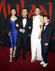 Jasmine Yen, Donnie Yen, Cissy Wang and James Yen at the World premiere of Disney's 'Mulan' held at the Dolby Theatre in Hollywood, USA on March 9, 2020.