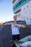 Loading fish on Paul Gauguin Cruise Ship, Papeete, French Polynesia, South Pacific